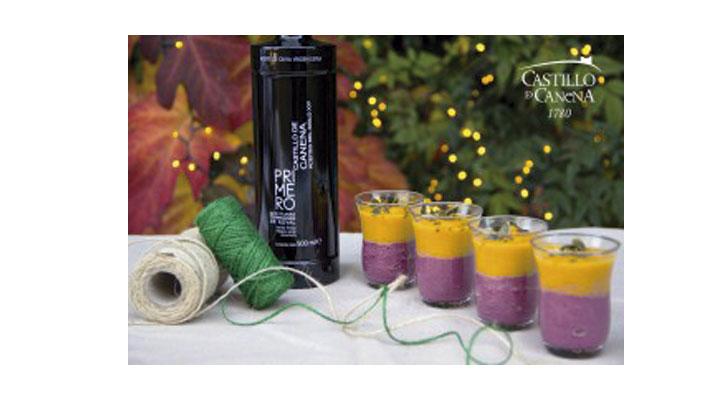 Crema bicolor de verduras con AOVE Royal Temprano