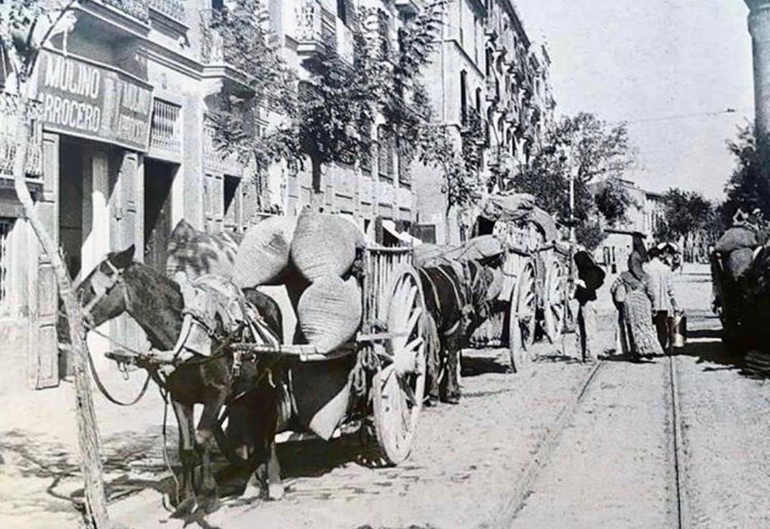 Carros cargados con arroz. Principios del siglo XX