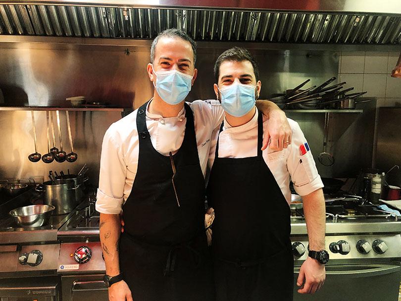 Noi-Madrid-Gianni Pinto y su jefe de cocina, Javier Gassibe